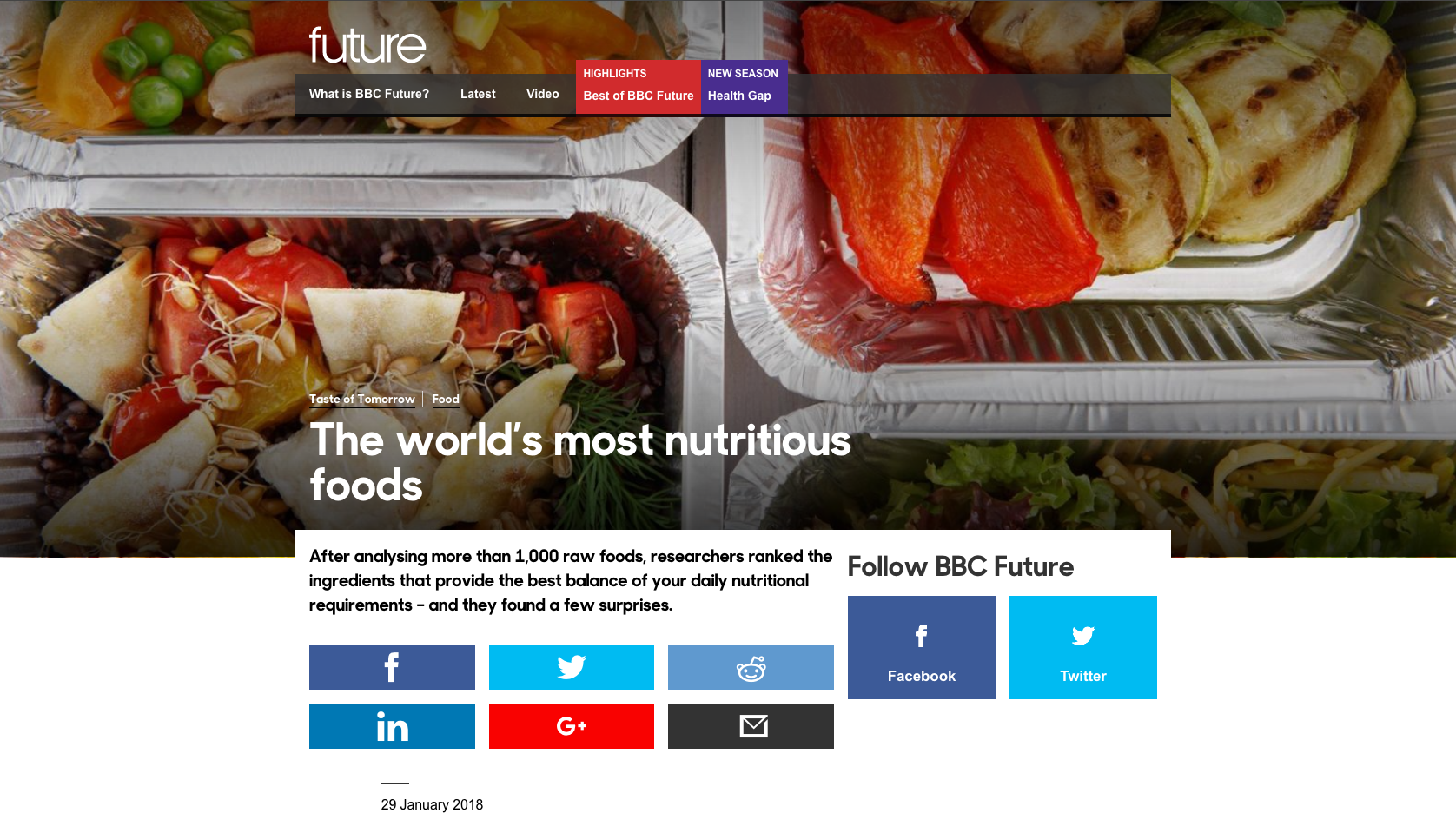 BBC &#8220&#x3B;100 Most Nutritious Foods&#8221&#x3B; Infographic